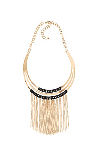 [Chain Fringe Tassel Torque Bib Adjuster Chunky Choker Collar Necklaces For Women (Gold, black)] (Tangled Costume Ideas)