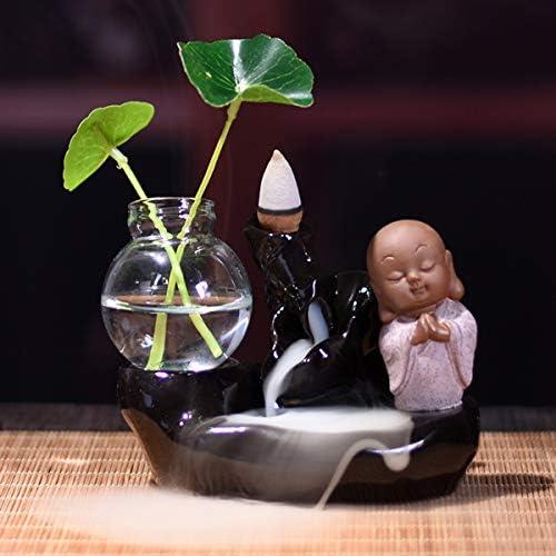Queenwind セラミック逆流香バーナー仏教徒コーンホルダーガラス水耕鍋クリエイティブギフト