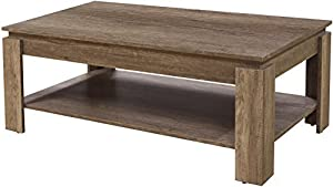 Home Source Canyon Coffee Table - Unique 3D Design Oak Finish