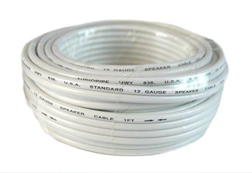 12 Gauge 25 Feet White Speaker Wire Zip Cable Copper Clad Ca