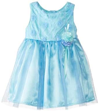 Youngland Baby Girls' Soutache Mesh Dress, Blue, 18 Months