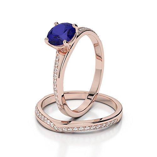 Or Rose 18carats 1CT G-H/VS sertie de diamants ronds Cut Saphir et mariée Bague de fiançailles et ensemble de Agdr-2015