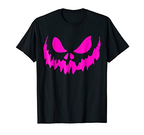 Mens Scary Face Halloween Tshirt | Neon Pink 3XL Black ()
