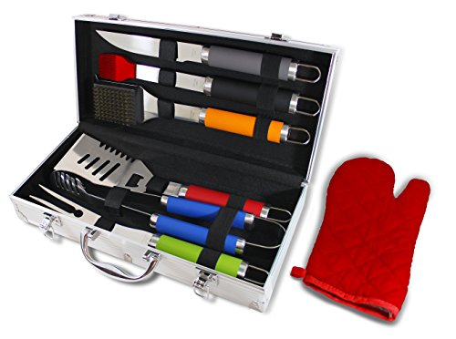 Chef Basics Colorful 7 Piece BBQ Tool Set And Aluminum Case by KOVOT