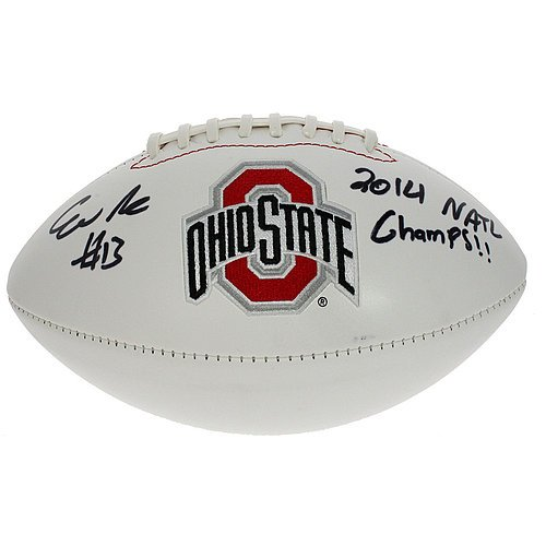 Eli Apple Autographed Ohio State Buckeyes White Panel Football - 2014 National Champs - Certified Authentic