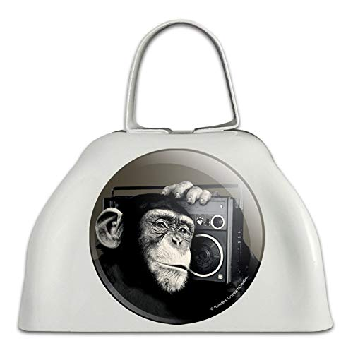 Chimp Monkey With Boombox Radio White Metal Cowbell Cow Bell Instrument