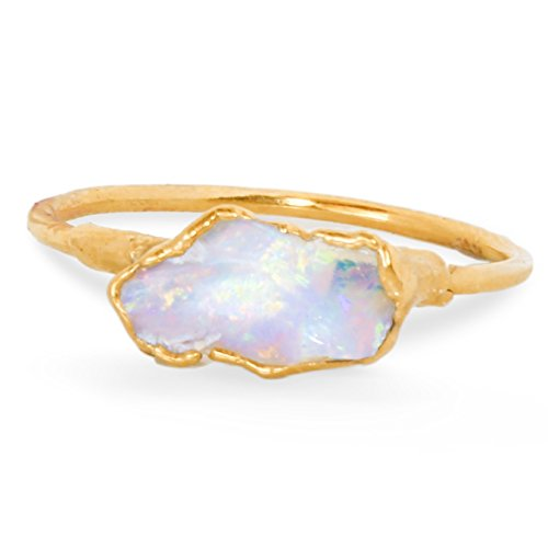 Raw Opal Ring, Size 7, Yellow Gold, October Birthstone Stacking Ring