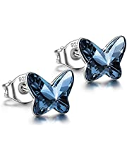 ANGEL NINA ♥Free Love♥ 925 Sterling Silver Butterfly Earrings Hypoallergenic Earrings Made with Swarovski Crystals, Valentines Birthday Gifts Elegant Jewelry Gift Box