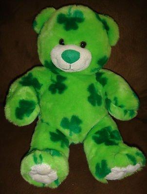Build A Bear Workshop LUCKY 2006 Plush Green St Patrick's Day Irish Clover Bear