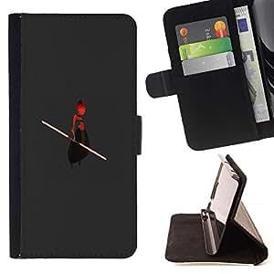 Momo Phone Case / Flip Funda de Cuero Case Cover - Extranjero Ufo Guerrero Bastón rojo Hombre Arte de la historieta - Apple Iphone 6 PLUS 5.5