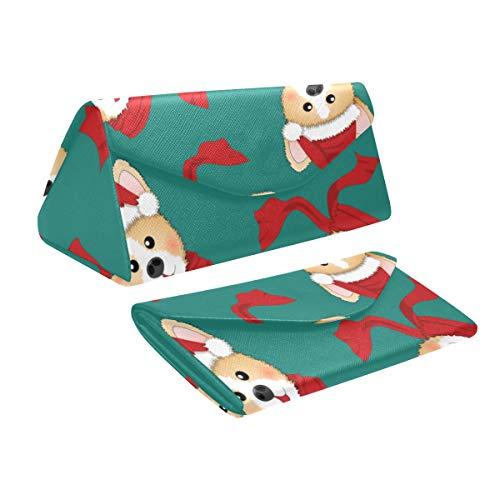 - Sunglasses Case For Men Corgi Santa Claus Red Scarf On Pu Leather Foldable Magnetic Closure Large Sunglasses Case
