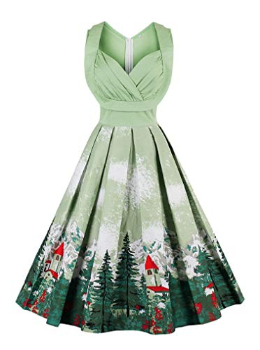 Seazoon Cutton Dresses Vintage Swing Halloween Costume V Neck Sleeveless Cocktail Dresses for Women Cotton SE19 1370 Green -