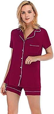 FerDIM Womens Long Sleeve Classic Pajamas Sets with Pocket Button-up Sleepwear 2 Piece
