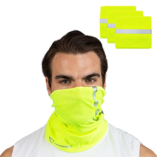 Armorbilt High Visibility Reflective Safety Face Clothing - Neck Gaiter, Bandana Dust Mask, Sun Shade Shield, Multifunctional Headwear (Yellow) (3) ()