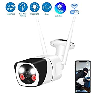 Outdoor Security IP Camera 1080P Wireless WiFi Surveillance Cameras with 2 White Lamps Two-Way Audio IP66 Waterproof Night Vision Motion Detection Topmall1 Indoor Baby Monitor (2MP Resolution US Plug)