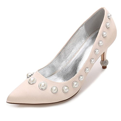 Elegant high shoes Zapatos de Mujer Wedding F17767-23 Stiletto Party & Evening Champagne