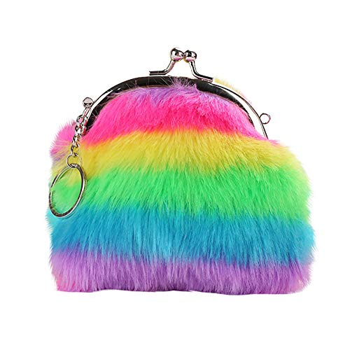 meiyuan Women Girl Rainbow Faux Fur Mini Wallet Coin Purse Clutch Bag Fluffy Keychain Keryring Colorful