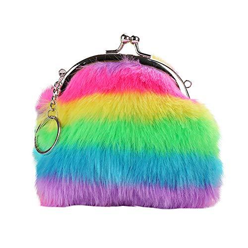 meiyuan Women Girl Rainbow Faux Fur Mini Wallet Coin Purse Clutch Bag Fluffy Keychain Keryring Colorful