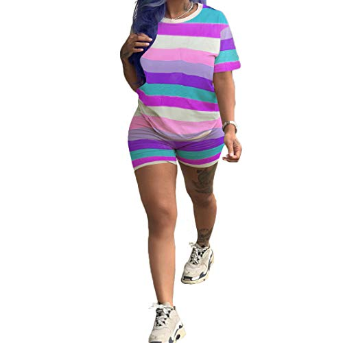 Track Suit for Women Set - 2 Piece Outfits Stripe Print Short Sleeve T-Shirts Bodycon Shorts Jumpsuits Rompers Purple Small