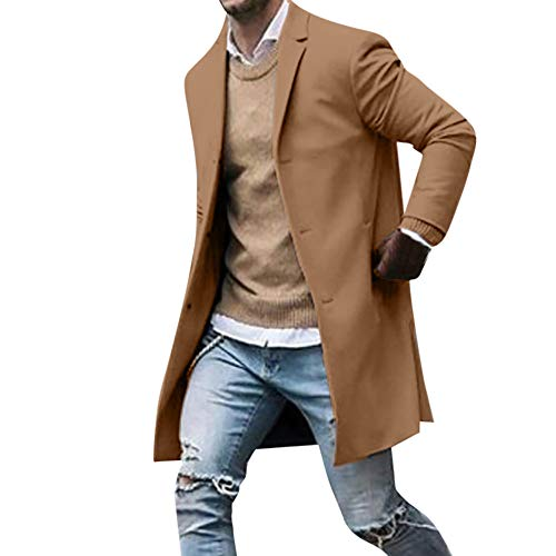 GREFER-Mens Classic Notched Collar Double Breasted Wool Blend Pea Coat Khaki