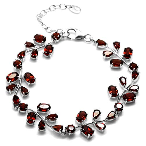 (13.2ct. Natural Garnet 925 Sterling Silver Leaf 6.75-8.25 Inch Adjustable Bracelet)
