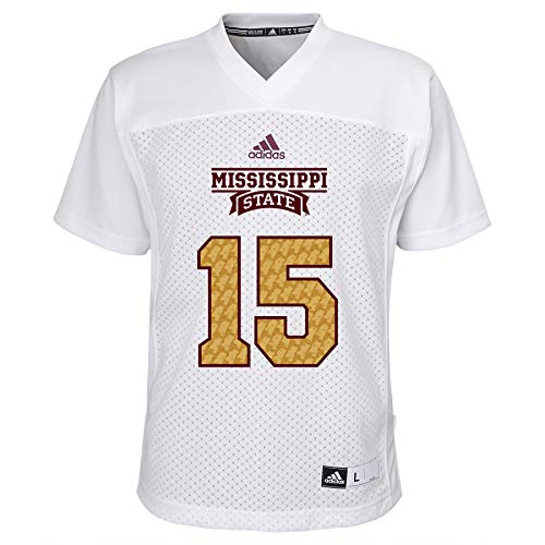 adidas Youth Mississippi State Bulldogs # 15 Egg Bowl Football Jersey - White (Youth Large) (Mississippi Jersey State 15)