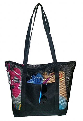 Mesh Beach Tote Bag Black - Good for the Beach - 20 in X 15 in X 5 -