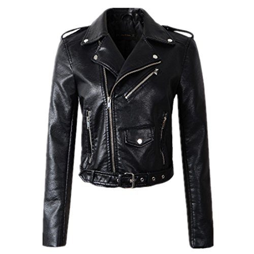 (ForeMode Women Autunm Winter Black Faux Leather Jackets Lady Bomber Motorcycle Cool Outerwear Coat with Belt(Black,M))