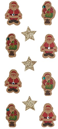 (Rössler 9007-140 Santa Clause and Stars on Kraft Card Sticker)