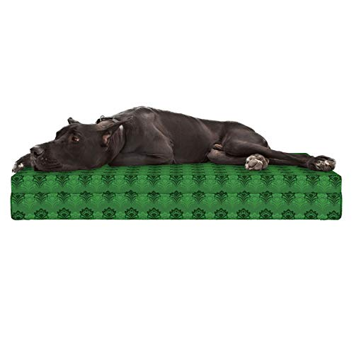 Lunarable Emerald Dog Bed, Abstract Floral Arrangement Green Color Palette Curves Dots Shaped Petals, Durable Washable Mat with Decorative Fabric Cover, 48