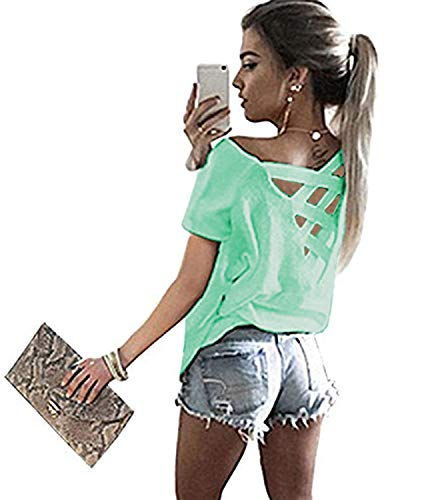 Yingkis Women's Summer Cut Out Loose Shirts Criss Cross Backless Top Tee Blouse,Lake Blue XXL ()