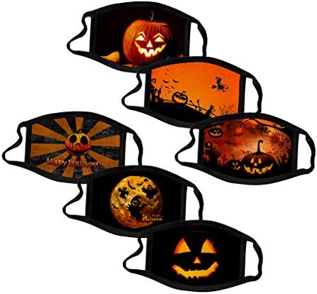 1pc Unisex Adjustable Windproof Reusable Halloween Printed Face/_mask