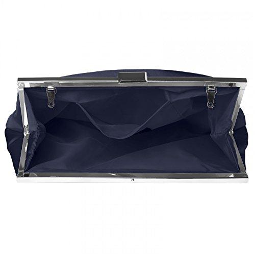 CASPAR klassische Damen Satin Clutch / Abendtasche in stylischem Design - viele Farben - TA320 Dunkelblau