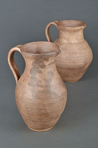 Large Ceramic Water Pitcher with Handle Lead-free Milk Jug 100 oz Handmade Water ()