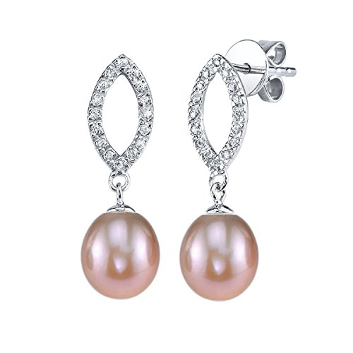 THE PEARL SOURCE 7-8mm Genuine Pink Freshwater Cultured Pearl & Cubic Zirconia Elka Earrings for Women