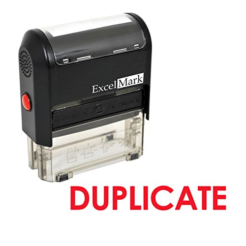 DUPLICATE Self Inking Rubber Stamp - Red Ink