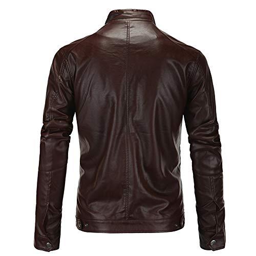 Homme En Veste Missmao Marron Biker Retro Moto Jacket Similicuir Cuir Blouson XIzzTpPqwn