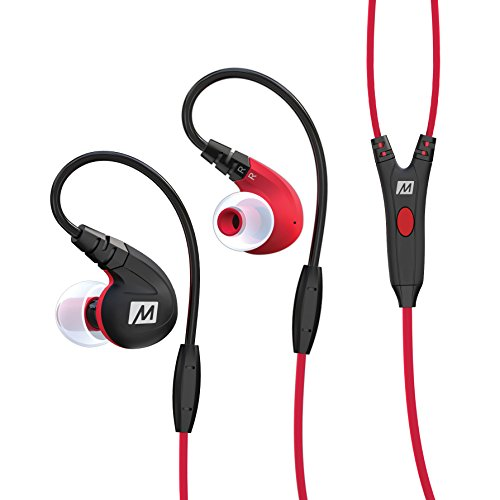 MEE audio M7P Secure-Fit Sports In-Ear Headphones with Mic, Remote, and Universal Volume Control(Red) (Bravo Earphones Headphones)