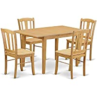 East West Furniture NODL5-OAK-W 5 Piece Kitchen Dinette Table and 4 Chairs Set
