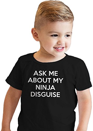Toddler Ask Me About My Ninja Disguise T Shirt Cool Karate Face Mask Flip Tee (Black) 5T (Crazy Mask)