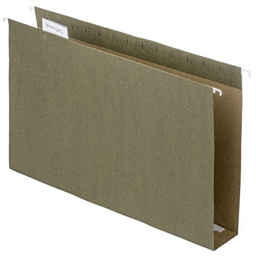 Blue Summit Supplies Extra Capacity Hanging File Folders, 11 x 14 Legal Size, Heavy Duty, 2 Inch Expansion Filing Folders, 1/5 Tab, for Bulky Files, Legal Charts, Standard Green, 25 Pack (14x13 Hanging File Folders)
