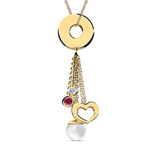14K Or blanc 0,01carat au total Round-cut-diamond (IJ | SI) et rubis et perle Pendentif