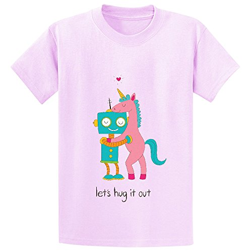 Price comparison product image Mcol Robot Unicorn Hugs Kid's Crew Neck Cotton T Shirts Pink