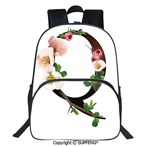 SCOXIXI Laptop Backpack Q Letter Surrounded with Pinkish Quince Flowers and Buds Abstract Spring Inspired (15.75