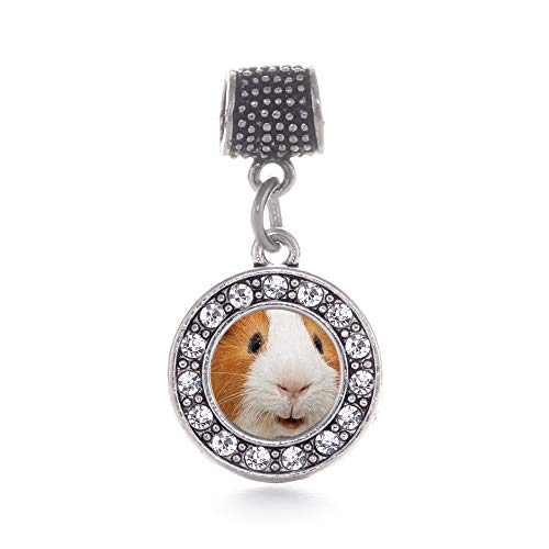 Beaded Guinea Pig - Inspired Silver - I Love Guinea Pigs Memory Charm for Women - Silver Circle Charm for Bracelet with Cubic Zirconia Jewelry
