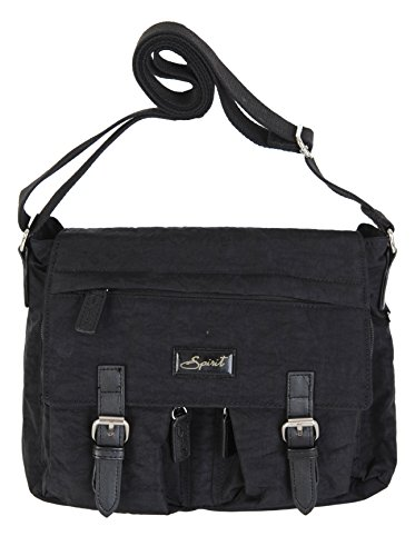 9886 SHOULDER COLOURS Black HANDBAG BAG Spirit LIGHTWEIGHT SATCHEL STYLE CROSSBODY FAB xz0tnpAwq
