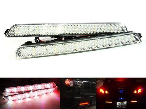 LEDIN Mazda3 Axela CLEAR Lens Bumper Reflector LED Backup Tail Brake Light Mazdaspeed3