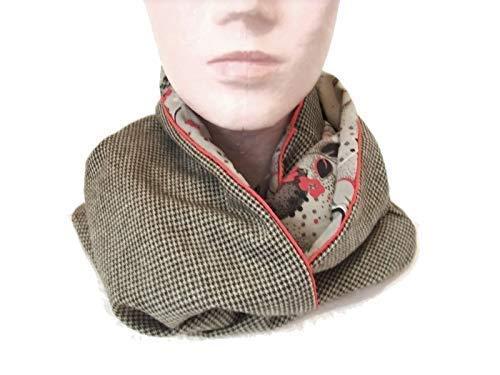 ca07d633786e snood femme beige tissu style japonais et lainage, tour de cou a motif  floral,
