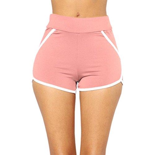 Yoga Shorts for Womens, FORUU Summer Sports Gym Workout Waistband Running Pants (L, Pink)