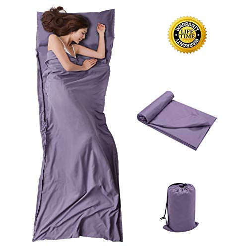 Travel and Camping Sheet Sleeping Bag Liner - Lightweight Compact and Portable Adult Sleeping bag- Ideal for Traveling,Hostels and Camping